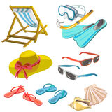Iconos de la playa Imagen de archivo