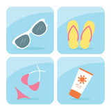 Iconos de la playa Fotos de archivo libres de regalías
