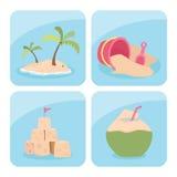 Iconos de la playa Imágenes de archivo libres de regalías