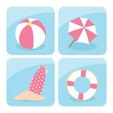 Iconos de la playa Foto de archivo