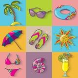 Iconos de la playa de la playa de las vacaciones de verano fijados Fotografía de archivo