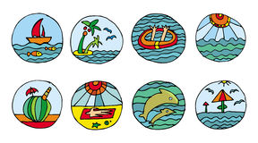 Iconos de la playa de las vacaciones Fotos de archivo