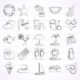 Iconos de la playa, del centro turístico y del entretenimiento Imagen de archivo libre de regalías