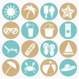 Iconos de la playa del verano fijados Foto de archivo