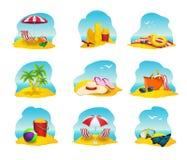 Iconos de la playa fijados ilustración del vector