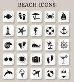 Iconos de la playa Sistema del vector Foto de archivo libre de regalías