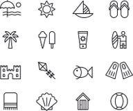 Iconos de la playa y del verano Imagen de archivo libre de regalías