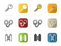 Iconos de la policía fijados Estilos lineares del color del diseño plano stock de ilustración