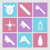 Iconos de la preparación del perro fijados o salón de pelo del animal doméstico Imagenes de archivo
