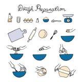 Iconos de la preparación de la pasta ilustración del vector