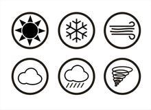 Iconos de la previsión metereológica para su diseño Imagenes de archivo