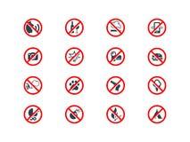 Iconos de la prohibición Fotografía de archivo libre de regalías