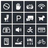 Iconos de la prohibición fijados ilustración del vector