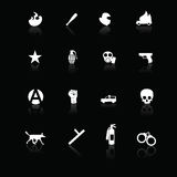 Iconos de la protesta blancos en negro Imagenes de archivo