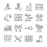 Iconos de la prueba de A/B fijados ilustración del vector