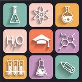 Iconos de la química para aprender y las aplicaciones web Foto de archivo