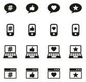 Iconos de la reacción o del grado stock de ilustración