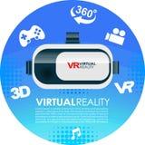 Iconos de la realidad virtual de los vidrios 3d de VR Imagen de archivo libre de regalías
