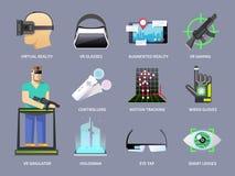 Iconos de la realidad virtual fijados Imagen de archivo libre de regalías