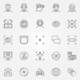 Iconos de la realidad virtual fijados Fotografía de archivo libre de regalías