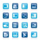 Iconos de la red de ordenadores y del Internet stock de ilustración