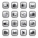 Iconos de la red de ordenadores y del Internet ilustración del vector