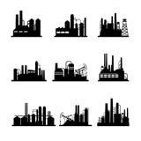 Iconos de la refinería de petróleo y de la planta de tratamiento del aceite