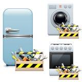 Iconos de la reparación del aparato electrodoméstico del vector Imagenes de archivo