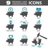Iconos de la reserva del coto Fotografía de archivo