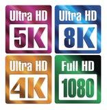 Iconos de la resolución de HD Foto de archivo libre de regalías