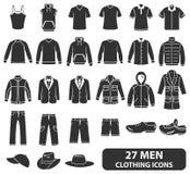 Iconos de la ropa de los hombres stock de ilustración