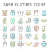 Iconos de la ropa del bebé fijados Ilustración del Vector