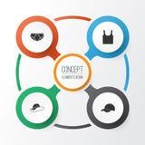Iconos de la ropa fijados Colección de sombrero flexible Imagen de archivo libre de regalías