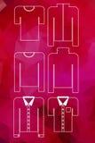 Iconos de la ropa fijados en fondo de la gema del granate Foto de archivo libre de regalías