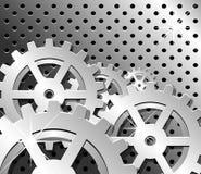 Iconos de la rueda en fondo gris metálico Fotos de archivo libres de regalías