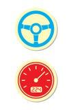 Iconos de la rueda y del velocímetro Foto de archivo