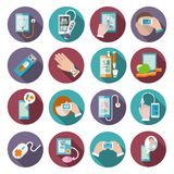 Iconos de la salud de Digitaces fijados Fotografía de archivo libre de regalías