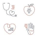 Iconos de la salud del corazón fijados stock de ilustración
