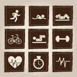 Iconos de la salud y del deporte Fotos de archivo libres de regalías