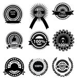 Iconos de la satisfacción garantizada stock de ilustración