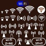 Iconos de la señal de WiFi Fotografía de archivo libre de regalías