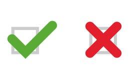 Iconos de la señal y de la cruz Stock de ilustración