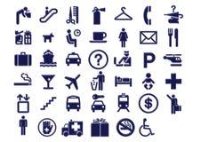 Iconos de la señalización del recorrido del aeropuerto libre illustration