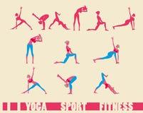 Iconos de la secuencia de la yoga de la aptitud del deporte de la mujer fijados Foto de archivo