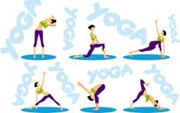 Iconos de la secuencia de la yoga de la aptitud del deporte fijados Imagen de archivo
