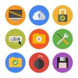 Iconos de la seguridad de Internet fijados Foto de archivo