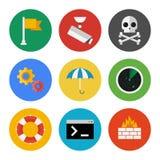 Iconos de la seguridad de Internet fijados Imagen de archivo