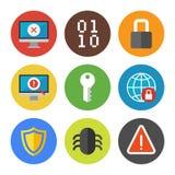 Iconos de la seguridad de Internet fijados Fotos de archivo libres de regalías