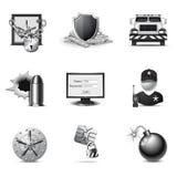 Iconos de la seguridad de la batería | Serie de B&W Imagenes de archivo