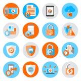 Iconos de la seguridad de la protección de datos Foto de archivo libre de regalías